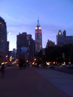 Empire State Building Lit in Red, White, & BLue