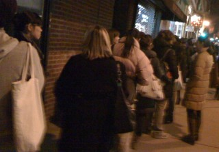Knitters line up for Hot Chocolate & Knitting - NYC