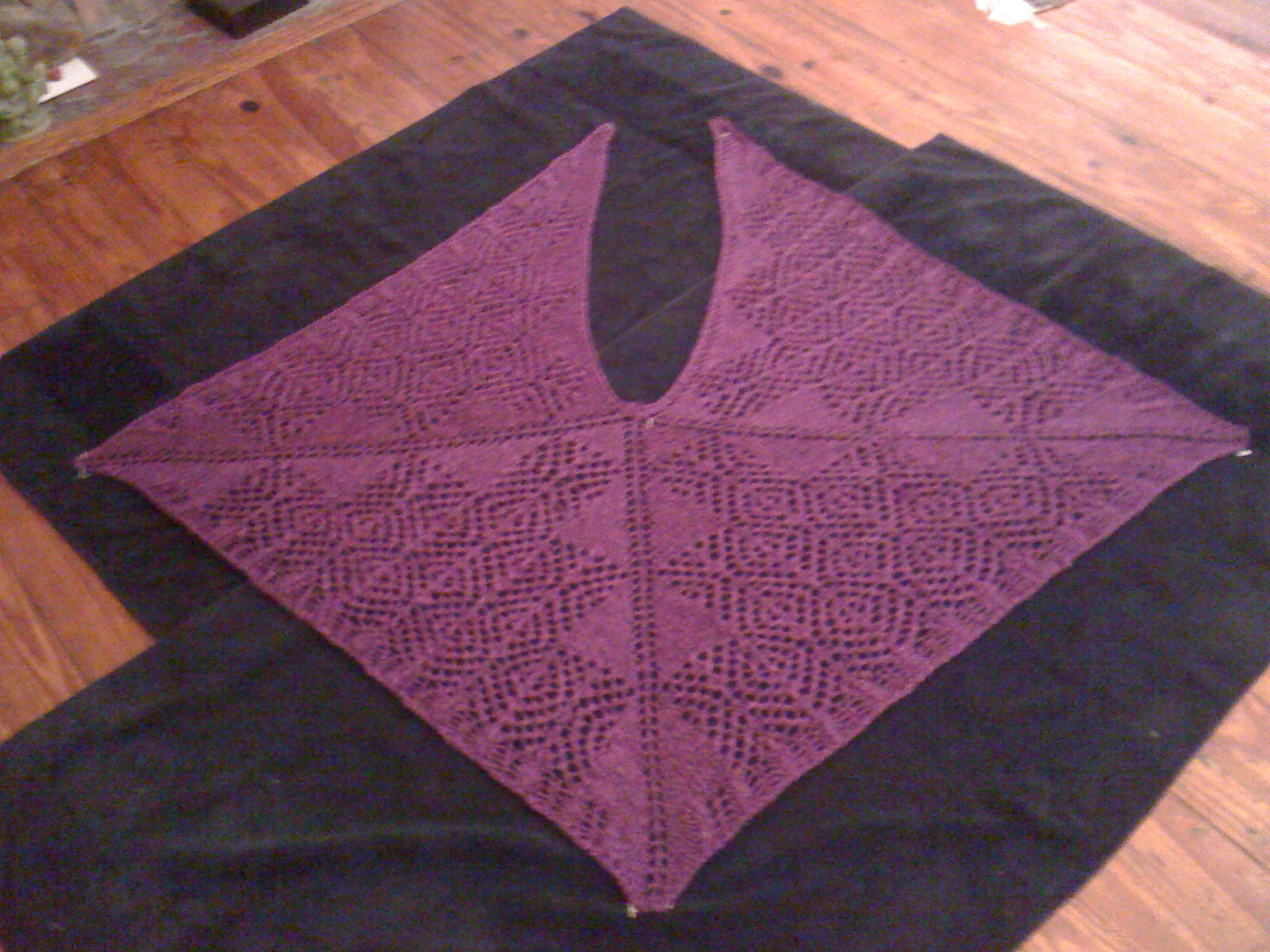Magenta Frosted Diamonds Shawl Blocked