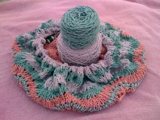 Green and Lavender Feather and Fan Rings on Hemlock Ring Blankie