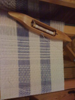 Hand weaving in progress at Mountain Yarns