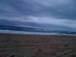 Overcast weather on Montauk beach