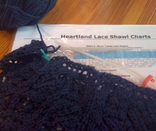 Beginning Evelyn Clark's Heartland Shawl in Baby Cashmerino