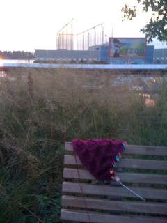 Nightsong Shawl with Hudson River View